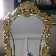 Antigüedades: PRECIOSA CORNUCOPIA ESPEJO CIRCA 1.900. 55X83 CMS. DORADO FINO SOBRE MOLDE. Lote 45108299
