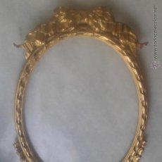 Antigüedades: MARCO OVALADO DE BRONCE DORADO ORMOLÚ PARA ESPEJO. MIDE 49 X 28,5 CM. Lote 45116549