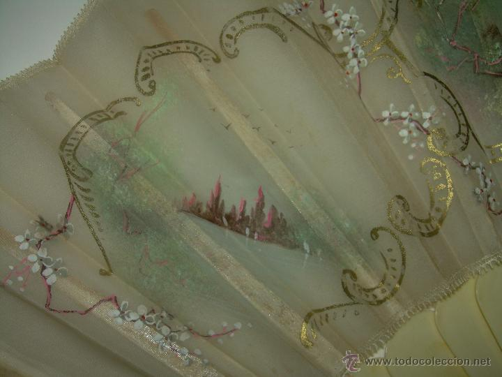 Antigüedades: IMPORTANTE ABANICO DE... MARFIL....DECORADO SOBRE TELA.... SIGLO XIX. - Foto 6 - 141935402