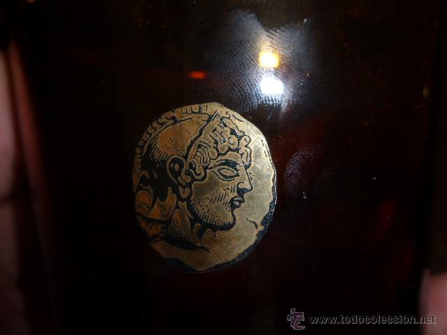 Antigüedades: ANTIGUO VASO DE CRISTAL DE DURALEX EN COLOR MARRON Y ORO. - Foto 2 - 45129785