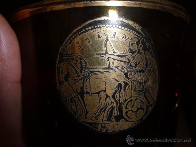 Antigüedades: ANTIGUO VASO DE CRISTAL DE DURALEX EN COLOR MARRON Y ORO. - Foto 4 - 45129785