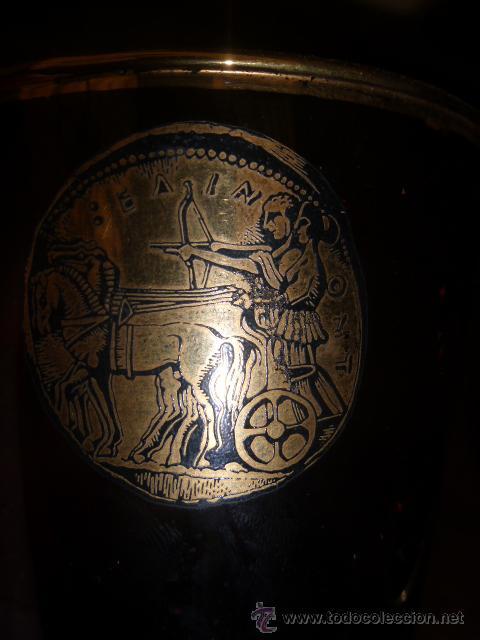 Antigüedades: ANTIGUO VASO DE CRISTAL DE DURALEX EN COLOR MARRON Y ORO. - Foto 5 - 45129785