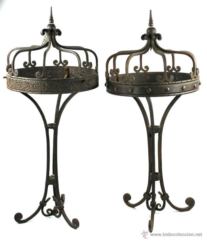 2 LÁMPARAS DE SOBREMAESA DE HIERRO , 1915'S. ALTURA: 57 CM. VER FOTOS ANEXAS (Antigüedades - Iluminación - Lámparas Antiguas)