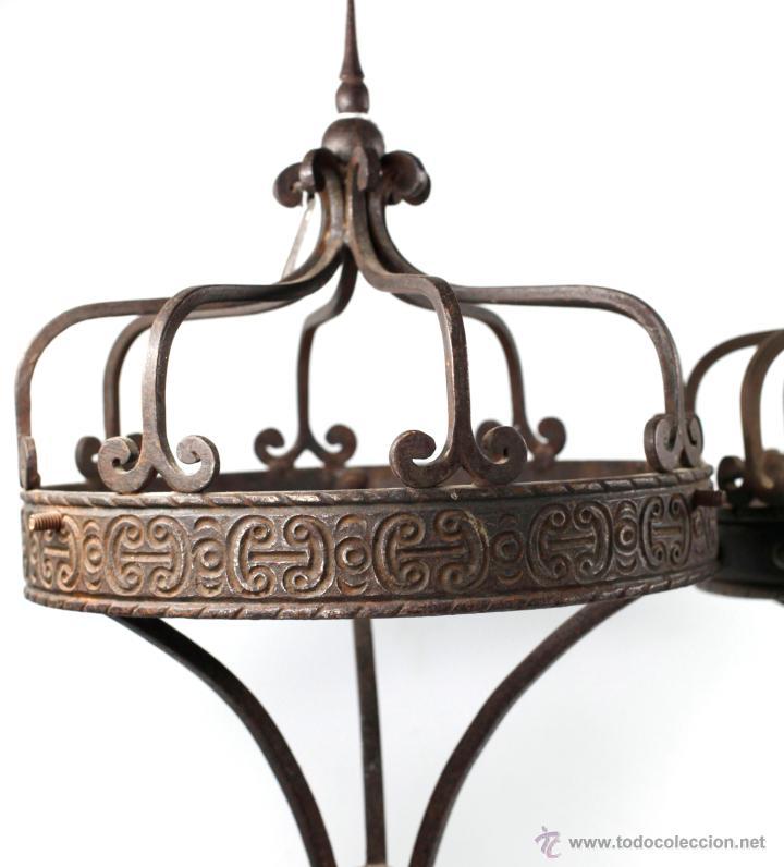 Antigüedades: 2 lámparas de sobremaesa de hierro , 1915s. altura: 57 cm. Ver fotos anexas - Foto 2 - 45136243