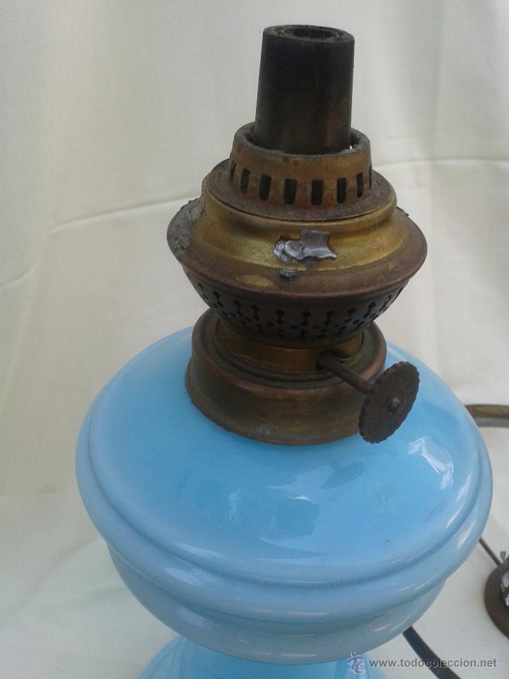 Antigüedades: Gran Quinqué azul con maravilloso cristal opalina y traslucido. Marca Kosmos Brenner - Foto 5 - 45152455