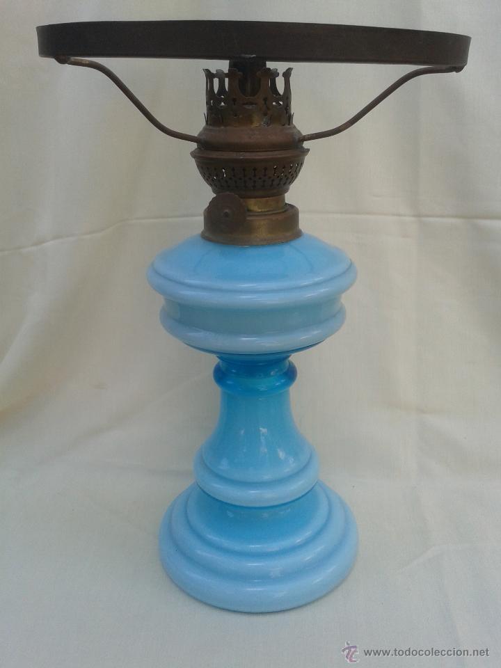 Antigüedades: Gran Quinqué azul con maravilloso cristal opalina y traslucido. Marca Kosmos Brenner - Foto 7 - 45152455