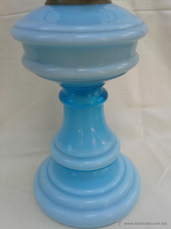Antigüedades: Gran Quinqué azul con maravilloso cristal opalina y traslucido. Marca Kosmos Brenner - Foto 8 - 45152455