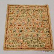 Antigüedades: MUY ANTIGUO ABECEDARIO BORDADO EN PUNTO DE CRUZ. CIUDAD RODRIGO (SALAMANCA), 1848. . Lote 45190523