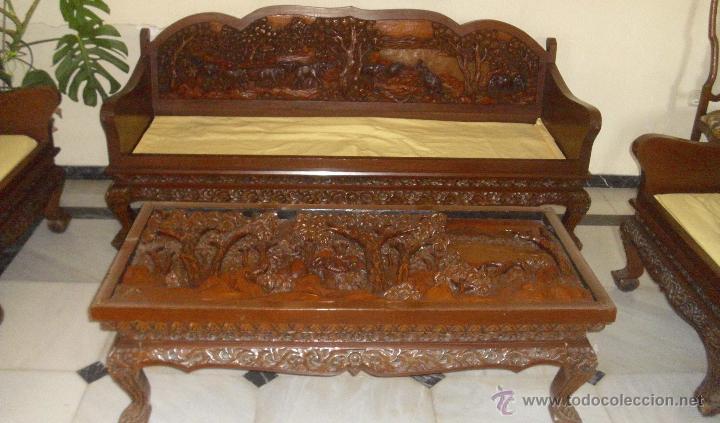 Conjunto de sofa 4 sillones y mesa madera talla comprar - Sofas antiguos de madera ...