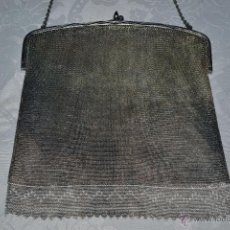 Antigüedades: MAGNIFICO BOLSO DE MALLA ANTIGUO EN PLATA ,CUATRO CONTRASTES, S. XIX-XX. Lote 45225252
