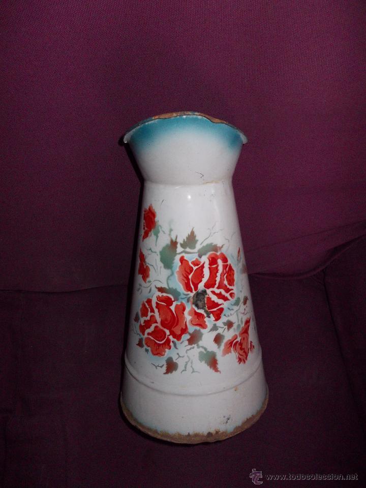 Antigüedades: jarra esmaltada con flores - Foto 2 - 45230982