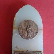 Antigüedades: ANTIGUO RECUERDO. SOUVENIR. DE LA BASÍLICA DEL PILAR. DE LATÓN Y ALABASTRO. VER IMÁGENES. Lote 45236232