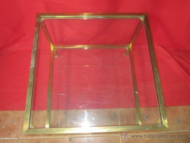 Antigüedades: Mesa auxiliar de forma cuadrada de latón y cristal. - Foto 2 - 45239802