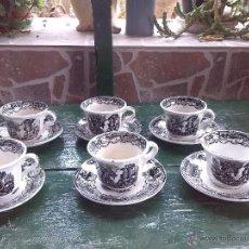 Antigüedades: ANTIGUO JUEGO DE CAFE DE 6 TAZAS Y SEIS PLATOS, SELLADOS PICKMAN . Lote 45279670