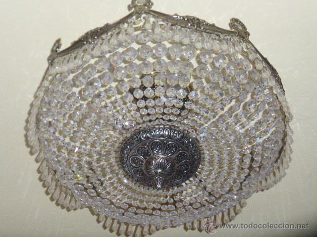 ANTIGUA LAMPARA DE CRISTAL ROCA. (Antigüedades - Iluminación - Lámparas Antiguas)