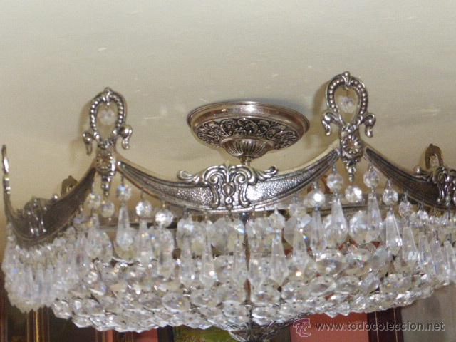 Antigüedades: ANTIGUA LAMPARA DE CRISTAL ROCA. - Foto 4 - 45314417