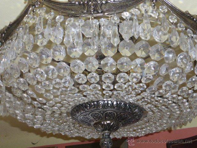 Antigüedades: ANTIGUA LAMPARA DE CRISTAL ROCA. - Foto 6 - 45314417