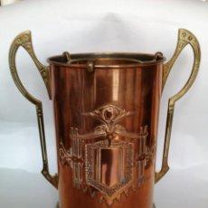 Antigüedades: ENFRIADOR DE BOTELLAS DE LATON Y COBRE. Lote 45325948