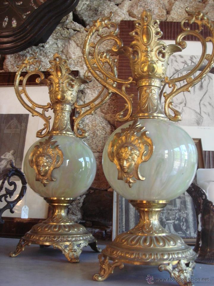 Antiguo par de jarrones de cristal y bronce comprar jarrones antiguos en todocoleccion 45332500 - Jarrones de cristal ...