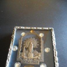 Antigüedades: CUADRITO CON MEDALLA DE LA VIRGEN DEL PILAR . Lote 45333425