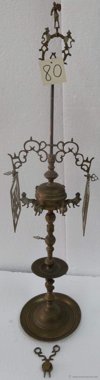CANDELABRO CON PANTALLA SIGLO XIX-80 (Antigüedades - Iluminación - Candelabros Antiguos)