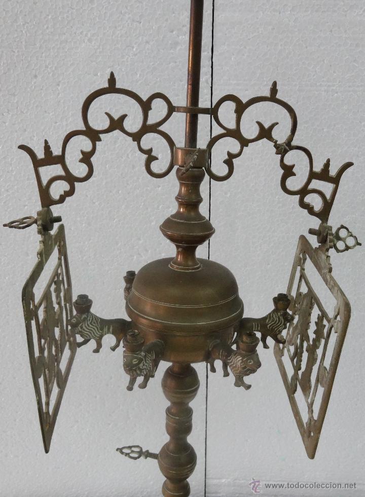 Antigüedades: CANDELABRO CON PANTALLA SIGLO XIX-80 - Foto 2 - 43446788