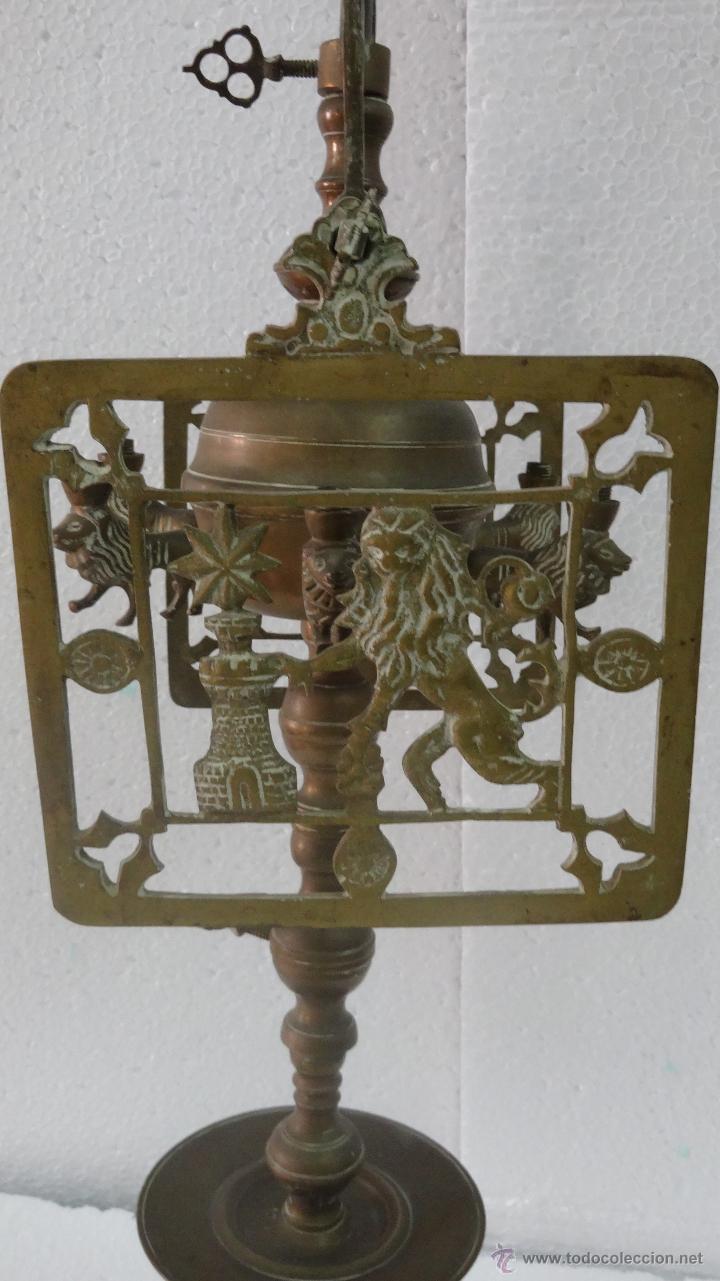 Antigüedades: CANDELABRO CON PANTALLA SIGLO XIX-80 - Foto 7 - 43446788