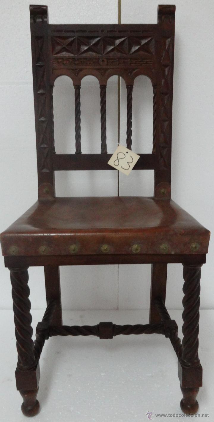SILLAS SEIS DE ESTILO CASTELLANO SIGLO XIX-83 (Antigüedades - Muebles Antiguos - Sillas Antiguas)