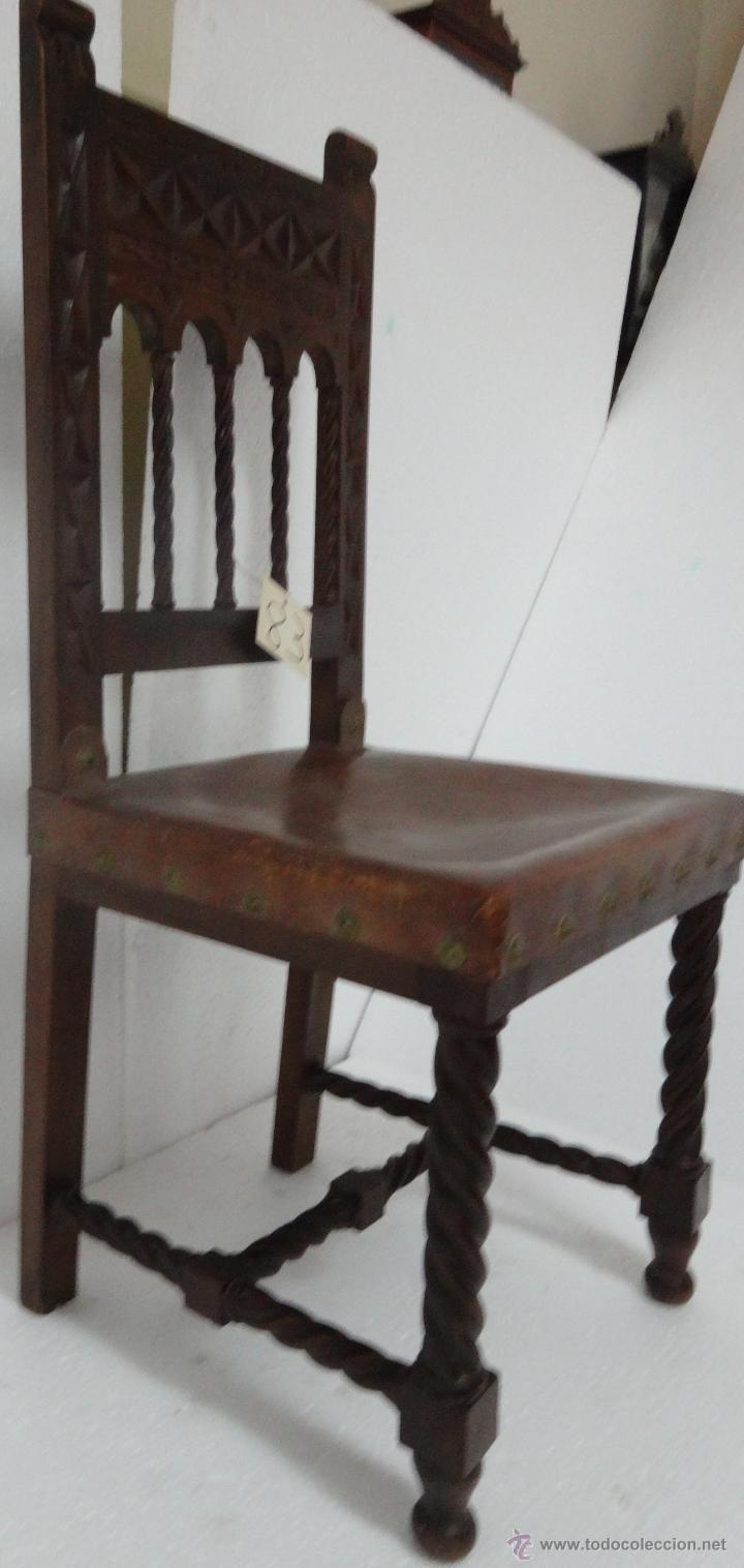 Antigüedades: SILLAS SEIS DE ESTILO CASTELLANO SIGLO XIX-83 - Foto 6 - 43448458