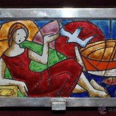 Antigüedades: CAJA ESTUCHE EN MADERA Y TAPA CON ESMALTE Y PLATA. AÑOS 50. Lote 45353710