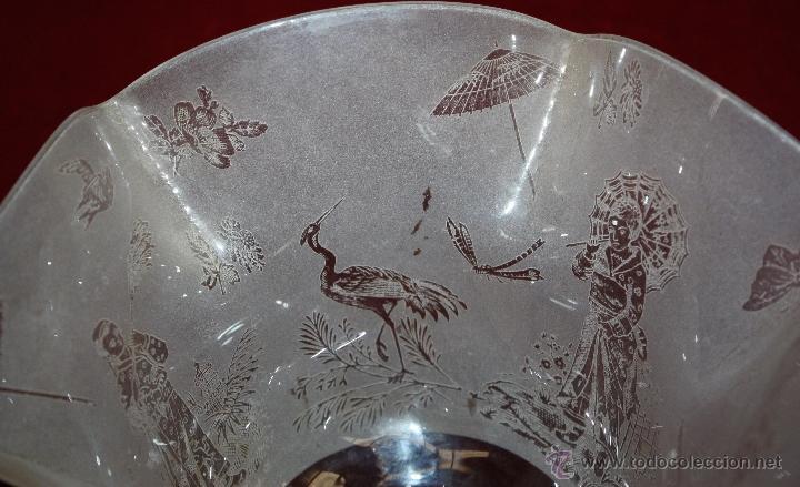 Antigüedades: SENSACIONAL TULIPA EN CRISTAL GLASEADO Y DECORACIONES ORIENTALES. CIRCA 1900 - Foto 11 - 45374906