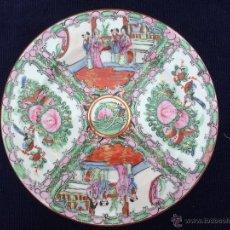 Antigüedades: ANTIGUO PLATO EN PORCELANA PINTADO A MANO Y SELLADO. Lote 45377317