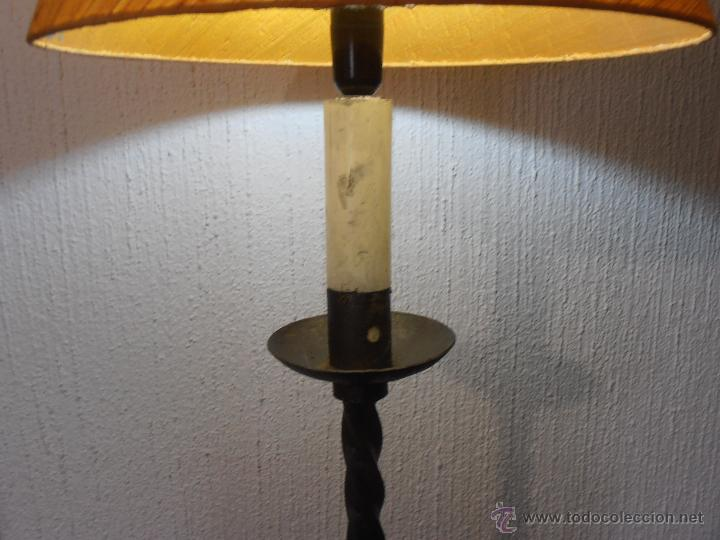 Antigüedades: LAMPARA DE PIE DE HIERRO CON PANTALLA NARANJA - Foto 7 - 45379365