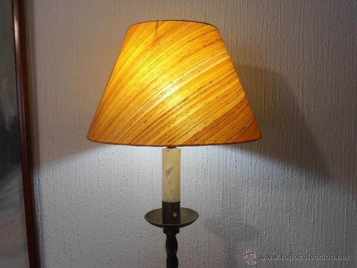 Antigüedades: LAMPARA DE PIE DE HIERRO CON PANTALLA NARANJA - Foto 9 - 45379365