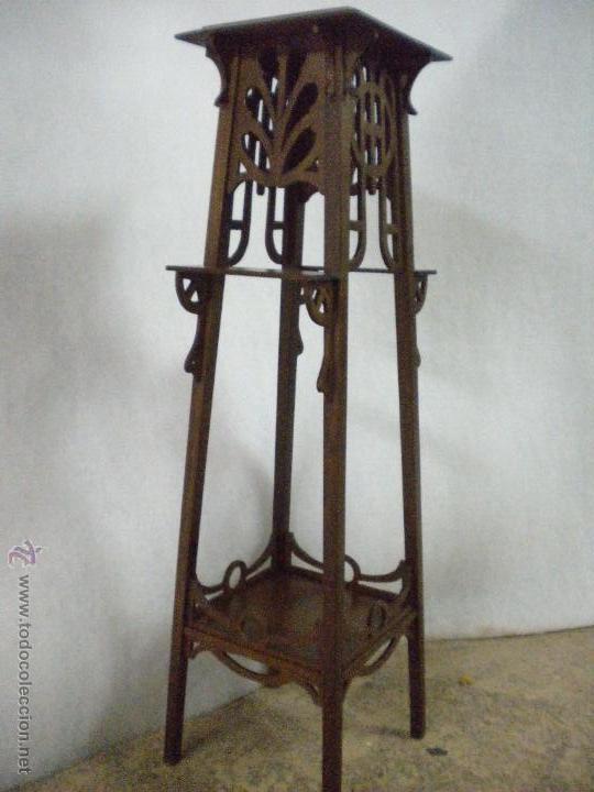 Macetero peana estilo modernista madera de nog comprar maceteros antiguos en todocoleccion - Maceteros de madera baratos ...