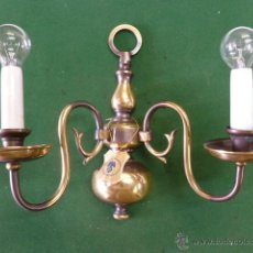 Antigüedades: LAMPARA O APLIQUE DE PARED NUEVO, METALICO 35 CM ANCHO X 31 CM ALTO X 16 CM FONDO. Lote 45422979