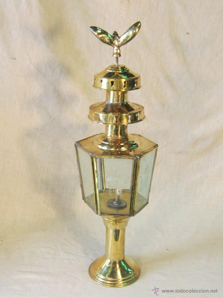 FAROL DE CARRUAJE EN METAL DORADO (Antigüedades - Iluminación - Faroles Antiguos)