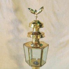 Antigüedades: FAROL DE CARRUAJE EN METAL DORADO. Lote 45438701
