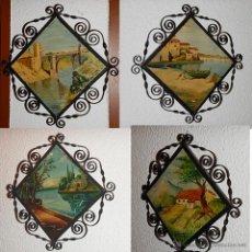 Antigüedades: 4 AZULEJOS CON IMAGENES DE DISTINTAS REGIONES ESPAÑOLAS, TOLEDO, ASTURIAS....., MIDE CADA AZULEJO 25. Lote 45450562