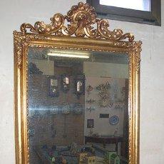 Antigüedades: ESPEJO ISABELINO DE MADERA DORADA, SIGLO XIX MEDIDAS ESPEJO: 74X110. Lote 45461178