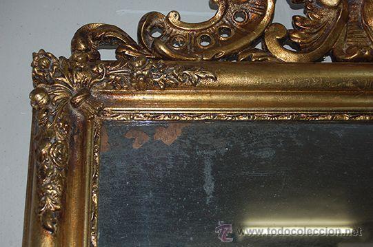 Antigüedades: Espejo Isabelino de madera dorada, siglo XIX Medidas espejo: 74x110 - Foto 4 - 45461178