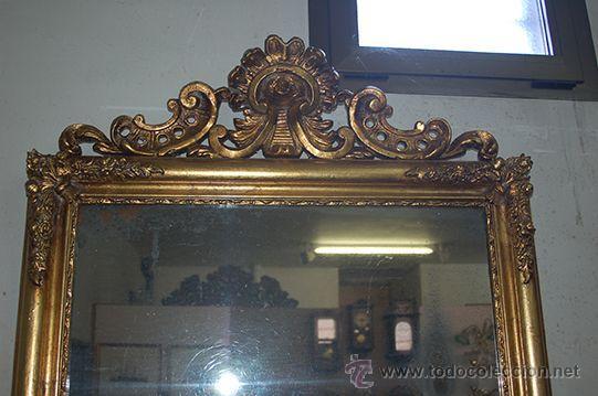 Antigüedades: Espejo Isabelino de madera dorada, siglo XIX Medidas espejo: 74x110 - Foto 7 - 45461178
