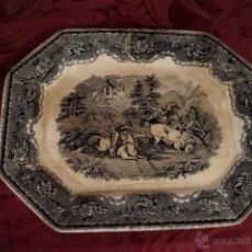Antigüedades: BANDEJA DE CARTAGENA OCHAVADA, CACERÍAS / S. XIX. Lote 45470508