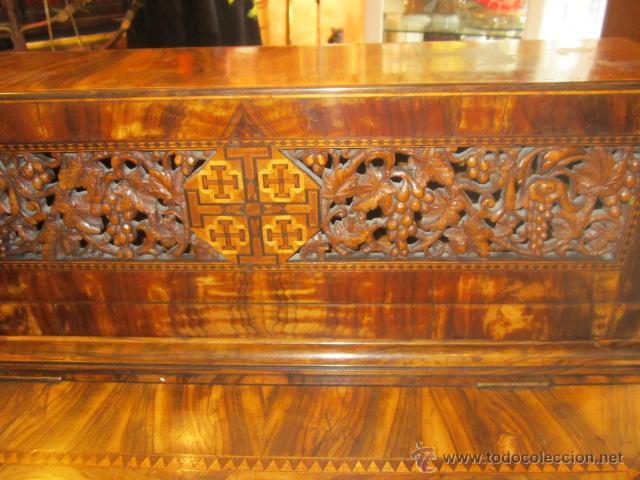Antigüedades: Mueble escritorio Davenport S. XIX en madera raíz de olivo con cajones laterales, secante y tintero - Foto 2 - 45485876
