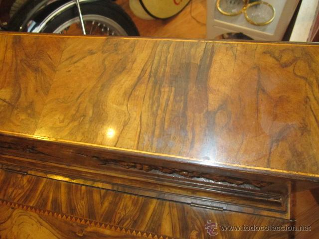 Antigüedades: Mueble escritorio Davenport S. XIX en madera raíz de olivo con cajones laterales, secante y tintero - Foto 4 - 45485876