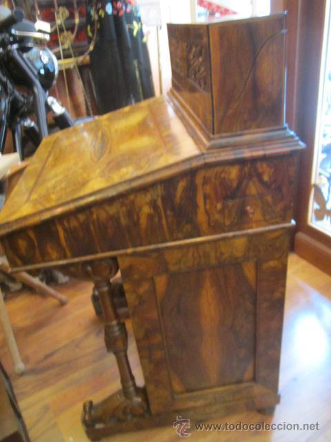 Antigüedades: Mueble escritorio Davenport S. XIX en madera raíz de olivo con cajones laterales, secante y tintero - Foto 12 - 45485876