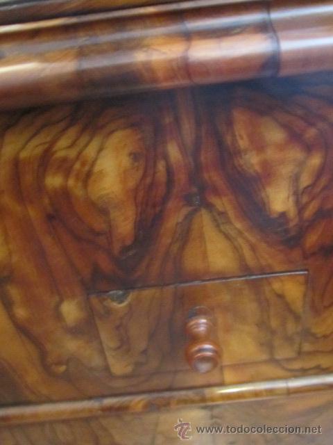 Antigüedades: Mueble escritorio Davenport S. XIX en madera raíz de olivo con cajones laterales, secante y tintero - Foto 14 - 45485876