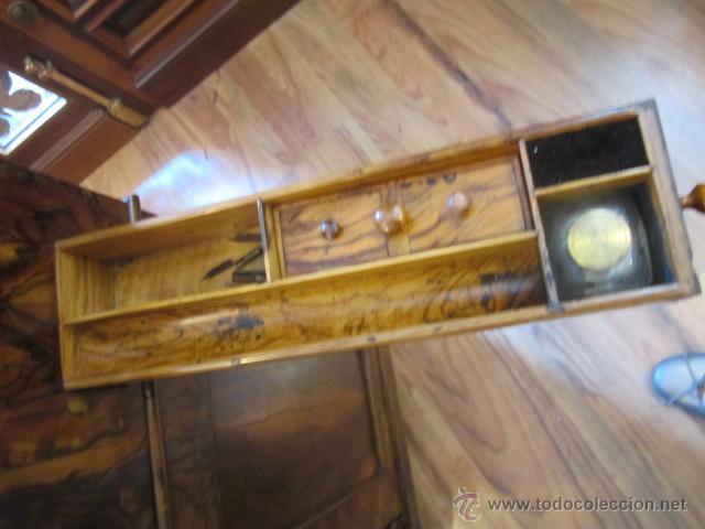 Antigüedades: Mueble escritorio Davenport S. XIX en madera raíz de olivo con cajones laterales, secante y tintero - Foto 15 - 45485876
