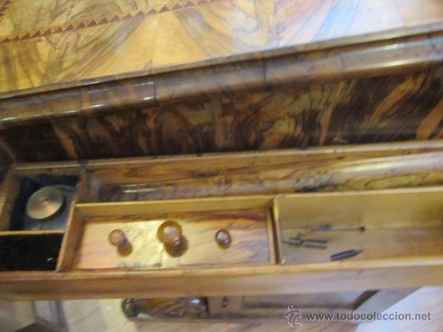 Antigüedades: Mueble escritorio Davenport S. XIX en madera raíz de olivo con cajones laterales, secante y tintero - Foto 16 - 45485876