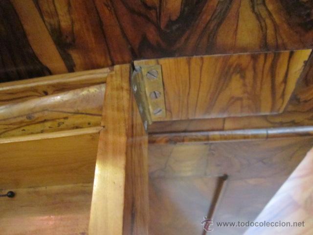 Antigüedades: Mueble escritorio Davenport S. XIX en madera raíz de olivo con cajones laterales, secante y tintero - Foto 17 - 45485876